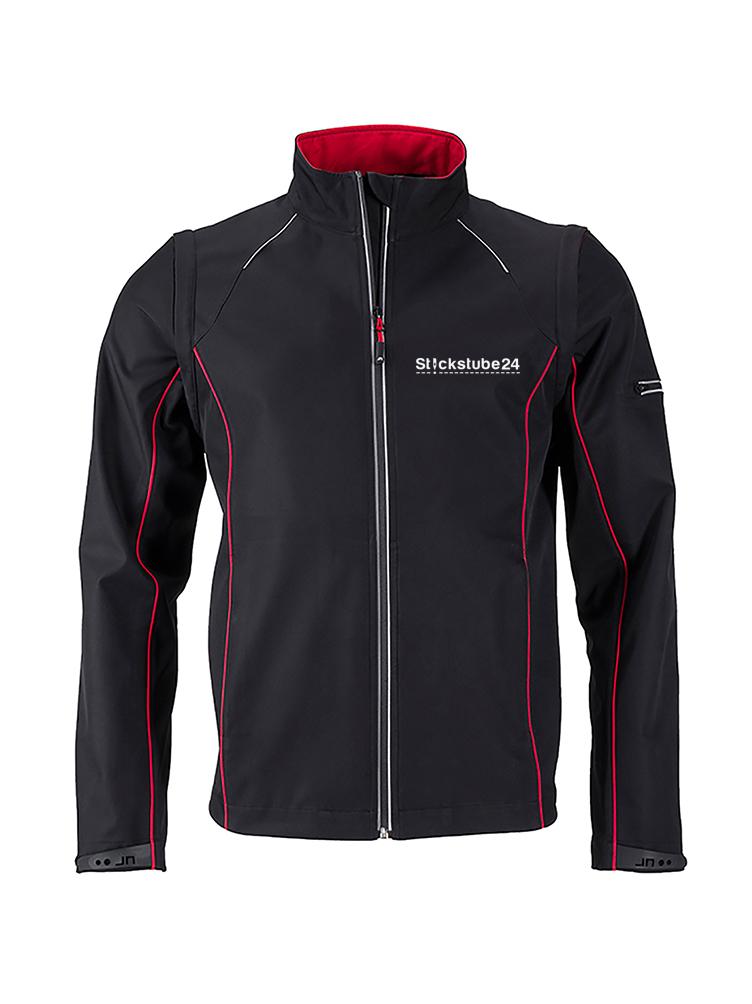 Softshell-Jacke schwarz mit Bruststick